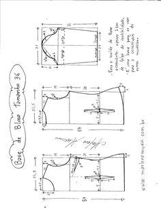 Esquema de modelagem de Base de Blusa tamanho 36.