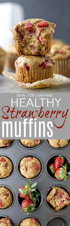 These Moist Healthy Strawberry Muffins are the perfect breakfast on the go! These muffins are dairy and refined sugar free and filled with fresh juicy strawberries and whole grains - only 128 calories a serving.