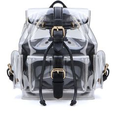 Transparent Clear Perpex Backpack Bag ($120) ❤ liked on Polyvore featuring bags, backpacks, day pack backpack, clear bags, zipper bag, backpack bags and top handle bags