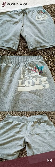 "Shorts Sweat shorts with 7"" inseam. Butterfly design and says, LIVE LAUGH LOVE...drawstring waist mix & co Shorts"