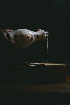 polenta coconut almond milk baked pudding with burnt sugar blood orange sauce | A Brown Table