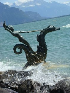 Edouard-Marcel's Hippocampes (series of sea nymph sculptures) near Quai Maria Belgia and the gardens on Lac Leman/Geneva Vevey - Switzerland #switzerland #europe