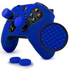 ParticleGrip Studded Skin Set for Xbox One (& One S) by Foamy Lizard – Patent Pending Silicone Skin Cover Antislip Studs Plus Matching Set of 4 AceShot Analog Thumbgrips (Blue) Video Games Xbox, Xbox 360 Games, Xbox One Controller, Control Xbox, Nintendo Switch, Joystick, Consoles, Youtubers, Videogames