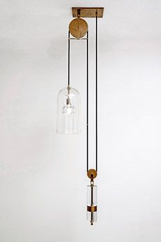 Pulley Pendant. The US artist-designer has been working with molten glass since the age of 15 — and has the scars to prove it (Photo: Joshua White) Bronze Wheels, Pulley Light, Interior Inspiration, Design Inspiration, Light Project, Pendant Design, Home Look, Retail Design, Pendant Lighting