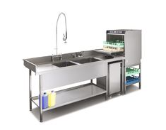Double bowl pot wash sink and commercial dishwasher combination suitable for small commercial kitchens Kitchen Design Software, Commercial Kitchen Design, Commercial Appliances, Commercial Kitchen Equipment, Commercial Dishwasher, Kitchen Designs, Restaurant Plan, Restaurant Kitchen, Restaurant Design