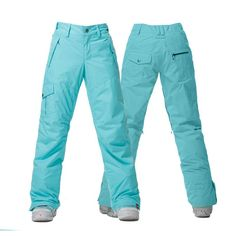 0dafb6e7095 Gsou Snow Thermal Warm High Waterproof Windproof Lake Blue Women s Snowboard  Ski Pants Front Back