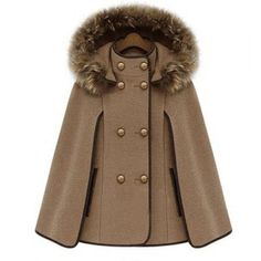 Trendy Detachable Hooded Cape-Style Worsted Solid Color Coat For Women, CAMEL, XL in Jackets & Coats | DressLily.com