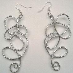 Silver textured aluminium earring---TRJ