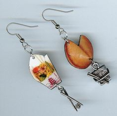 Chinese Take Out Earrings chopsticks fortune by DesignsByAnnette, $17.00