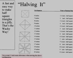 Recipe for half square triangles