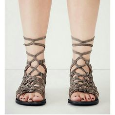 Free People Gladiator leather sandals Euro 37 US 7 Brand new woven suede sandals with adjustable ankle tie, back zip closure  EURO 37 US 7 NO TRADES Free People Shoes Sandals