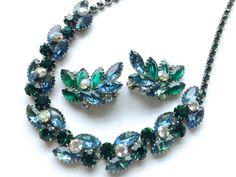 Juliana Rhinestone Necklace & Earring Set Retro by CrimsonVintique, $125.00