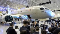 Bombardier's CSeries 100 test plane is unveiled at the company's production facility in Mirabel, Quebec.