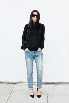 Casual denim and black style // Ann Kim // Andyheart