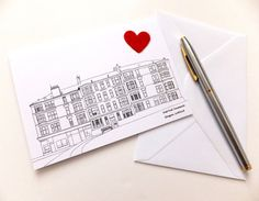 Heart Glasgow card by PeonyandThistle on Etsy