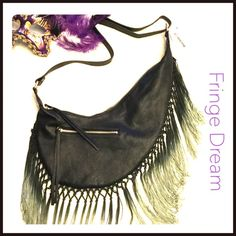 """✨Fringe Dream✨ ✨Cute, stylish bag with fringe details...Faux leather cross body purse, zipper closure. Interior zipper and two pouch pockets.✨Adjustable shoulder straps. Dimensions are 5""""(L) x 7""""(H) ✨ Bags"""