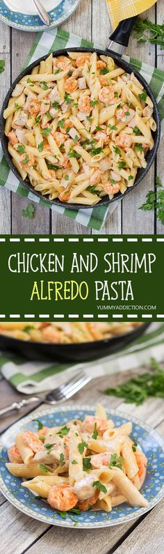 This Chicken and Shrimp Alfredo Pasta is creamy, hearty and filling. Comfort food at its best! | yummyaddiction.com