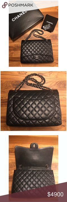 e74c57a5468c35 🐰Sale🐣 Chanel Maxi Flap Bag Black Caviar SHW 🐰Happy Easter Sale🐣  Authentic CHANEL Maxi Flap Bag Caviar and Silver Hardware. Made in Italy.  13 series.