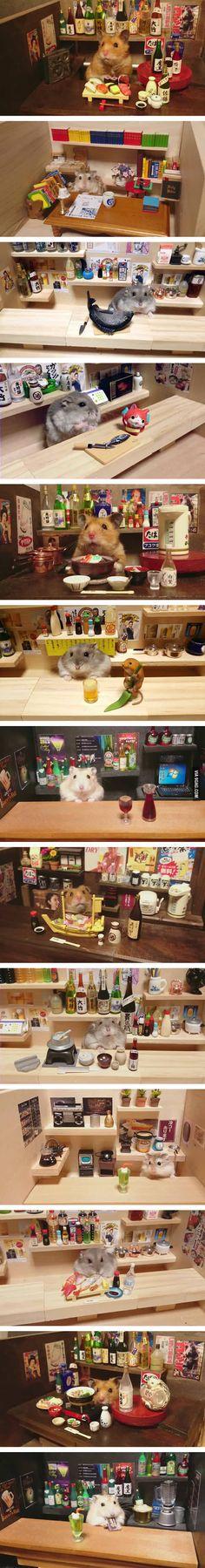 Hamster bartender (by Kawanabesatou)