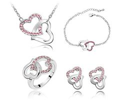 KALIS High Qualitiy Qurantee Fashion Austria Crystal Jewelry Set Necklace Bracelet Ring And Earrings Best Set For Girls KALIS http://www.amazon.com/dp/B00YMP6VJI/ref=cm_sw_r_pi_dp_JZ0Lvb1K0CZRW