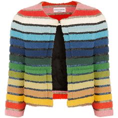 Sonia Rykiel Metallic-striped cotton-blend terry jacket ($1,470) ❤ liked on Polyvore featuring outerwear, jackets, sonia rykiel, tops, cardigans, blue, blue jackets, terry cloth jacket, multi colored jacket and multi color jacket