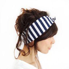 Tie Up Headscarf Navy and White Stripe. £12.00, via Etsy.