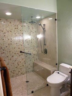 curbless shower bathroom designs | Curbless doorless mosaic glass frameless shower contemporary-bathroom