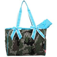 Camo Quilted W/white Stripe Diaper Bag-turquoise.