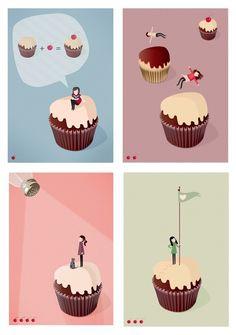 Cupcakes Set of 4 Prints by teconlene on Etsy