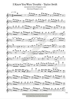 "sheet music for sax | ... of ""I knew you were trouble"" by Tylor Swift 