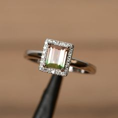 Unique ring natural watermelon tourmaline ring silver gemstone October birthstone ring