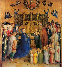 Présentation au temple, 1447, Stephan Lochner, Darmstadt. -Cette Présentation, panneau central du retable peint par Lochner pour l'église Ste-Catherine en 1447, est l'une des dernières oeuvres de l'artiste allemand, ainsi qu'en témoigne la maîtrise de la couleur et de la composition. Le grand prêtre a déposé l'Enfant Jésus sur l'autel; Marie, agenouillée devant lui, le visage baigné de joie, offre selon la loi de Moïse 2 colombes d'un geste gracieux.