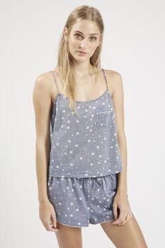 21ed4a5135 Topshop Star Print Chambray Pyjama Cami in Blue (CHAMBRAY)
