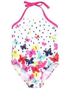 One-piece swimsuit by Deux par Deux | multicolourful butterflies | girls swimwear | best swimwear styles
