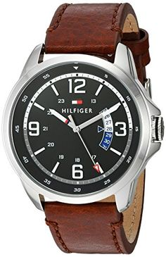 Tommy Hilfiger Men's 'HENRY' Quartz Stainless Steel and Leather Casual Watch, Color:Brown (Model: >>> To view further for this item, visit the image link. Casual Watches, Quartz Watch, Omega Watch, Tommy Hilfiger, Brown, Model, Leather, Stainless Steel, Accessories