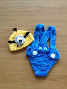 Minion Baby Set  Photo Prop  Halloween Costume by lindsaygee93, $20.00