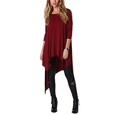 ca18dad3516 Preferhouse Casual Dress for Women Long Sleeve Shirt High Low Tops Plus Size  Burgundy M at Amazon Women s Clothing store
