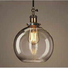 Industrial Style Clear Glass Globe Mini Pendant Lighting Fixture