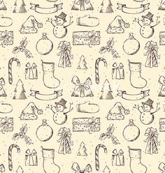 Seamless sketch christmas pattern vector  by AlexVectors on VectorStock®