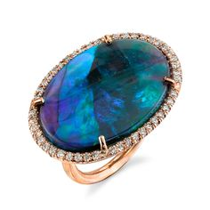 Irene Neuwirth - Lightening Ridge Black Opal and Diamond Pave