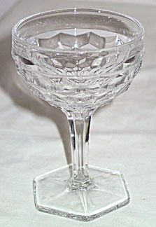 These are Elegant Glass tall sherbets in the American pattern made by Fostoria. They stands 5.5 inches tall and have the octagon foot.They are in good condition with no chips or cracks.