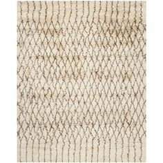 Safavieh Casablanca Shag Collection CSB860A Handmade Ivory and Grey Premium Wool & Cotton Area Rug (9' x 12')