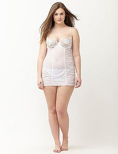 Lace cup shirred babydoll by Cacique | Lane Bryant