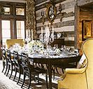 luxe cabin dining, designed by Suzanne Kasler