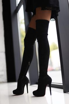 Suede boots with high heels Y. For this model .- Suede boots with high heels Y. For this model you can choose: -Hard color (black, …, - Black Heel Boots, Black High Heels, Thigh High Boots, High Heel Boots, Knee Boots, High Heels Outfit, Boot Heels, Shoes Heels, Buy Shoes