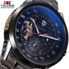 Cheap masculino, Buy Quality masculinos relogios directly from China masculino watch Suppliers: TEVISE Automatico Self-Wind Men Steampunk Tourbillon Mechanical skeleton Watch Business Waterproof Sport Clock Relogio Masculino Men's Watches, Sport Watches, Luxury Watches, Cool Watches, Citizen Watches, Casual Watches, Wrist Watches, Watches Online, Patek Philippe