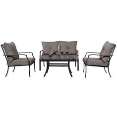 Goplus Goplus 4 PCS Patio Furniture Sofa Set Tea Table&Chairs Outdoor Garden Pool Steel Frame - Outdoor Living - Patio Furniture - Casual Seating Sets