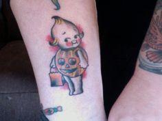 Halloween Kewpie Tattoo Done by Hank King in Asheville, NC.