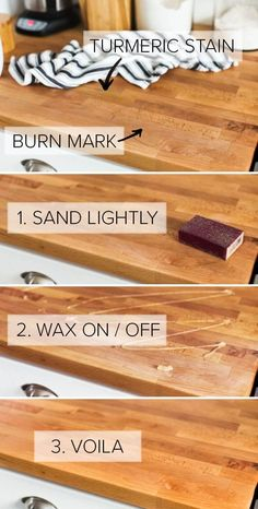Remodeling Kitchen Countertops Step-by-step instructions on how to take care of butcher block countertops added in our kitchen renovation, including sanding and oiling. Wooden Countertops, Kitchen Countertop Materials, Butcher Block Countertops Kitchen, Butcher Block Island, Butcher Blocks, Metzger, Kitchen Essentials, The Ranch, Decoration