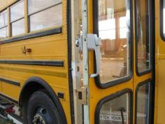 Another super cool feature… the bus doors have been put together into one door, with a handle and a lock  IMG_2264